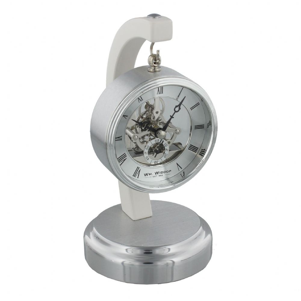 Piano Finish Mantel Clock with Suspended Skeleton Dial